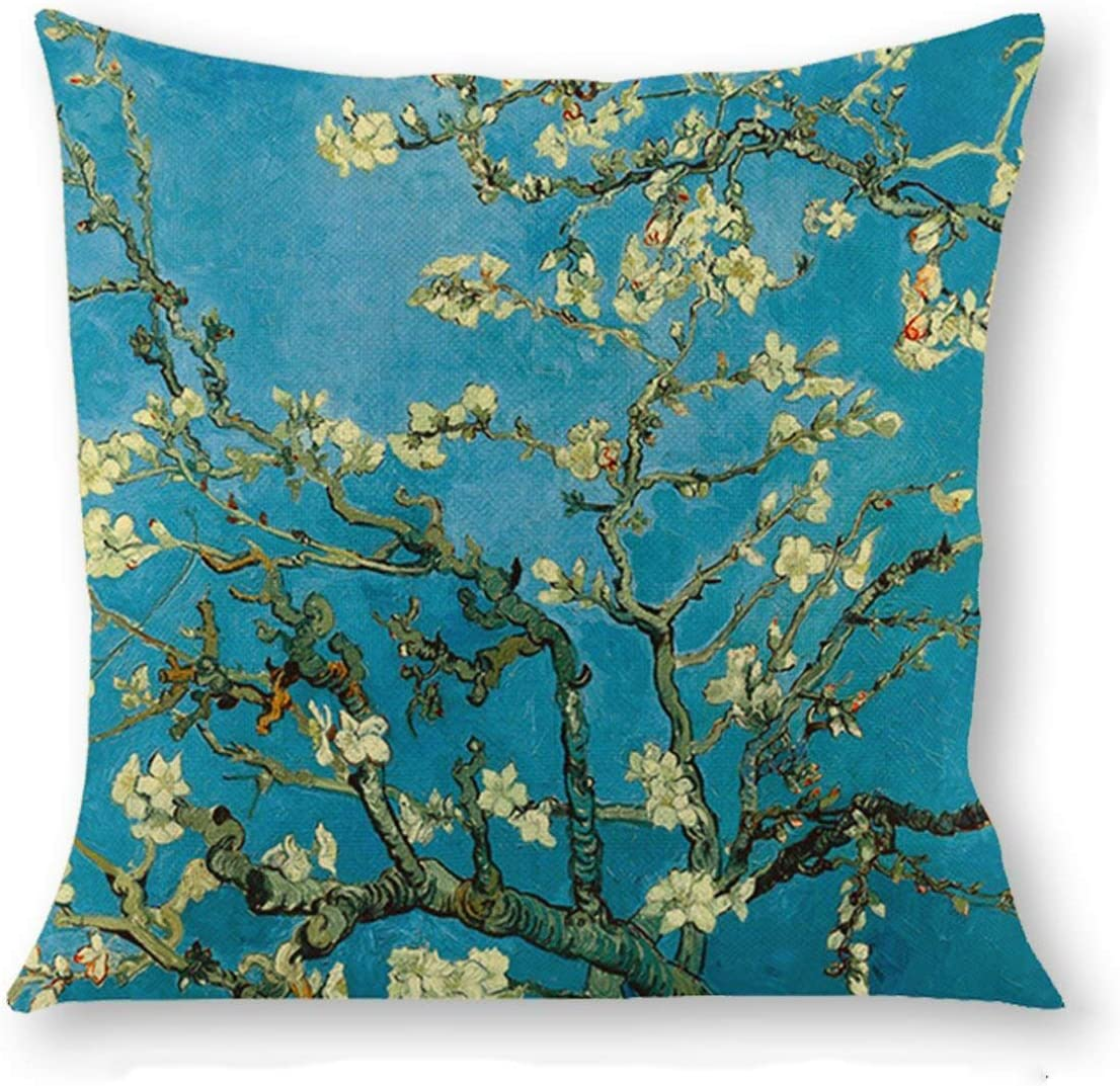 ArtKisser Apricot Blossom by Van Gogh Square Sofa and Bed Pillow Pillow Cover Cushion Case Cotton Home Decorative Linen Just Pillowcase,18 x 18 inch