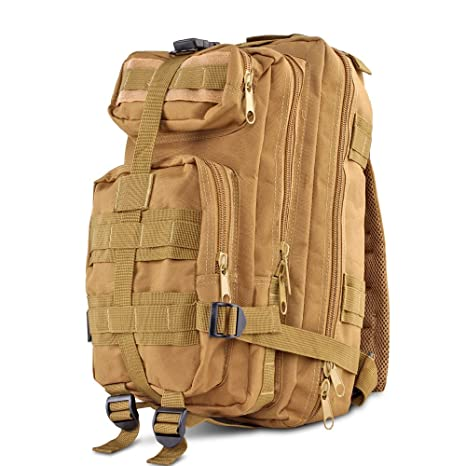d3a64763aa2a Flexzion Tactical Backpack (Tan) Outdoor Military Unisex Rucksack Travel  Molle Daypack Bag 30 L