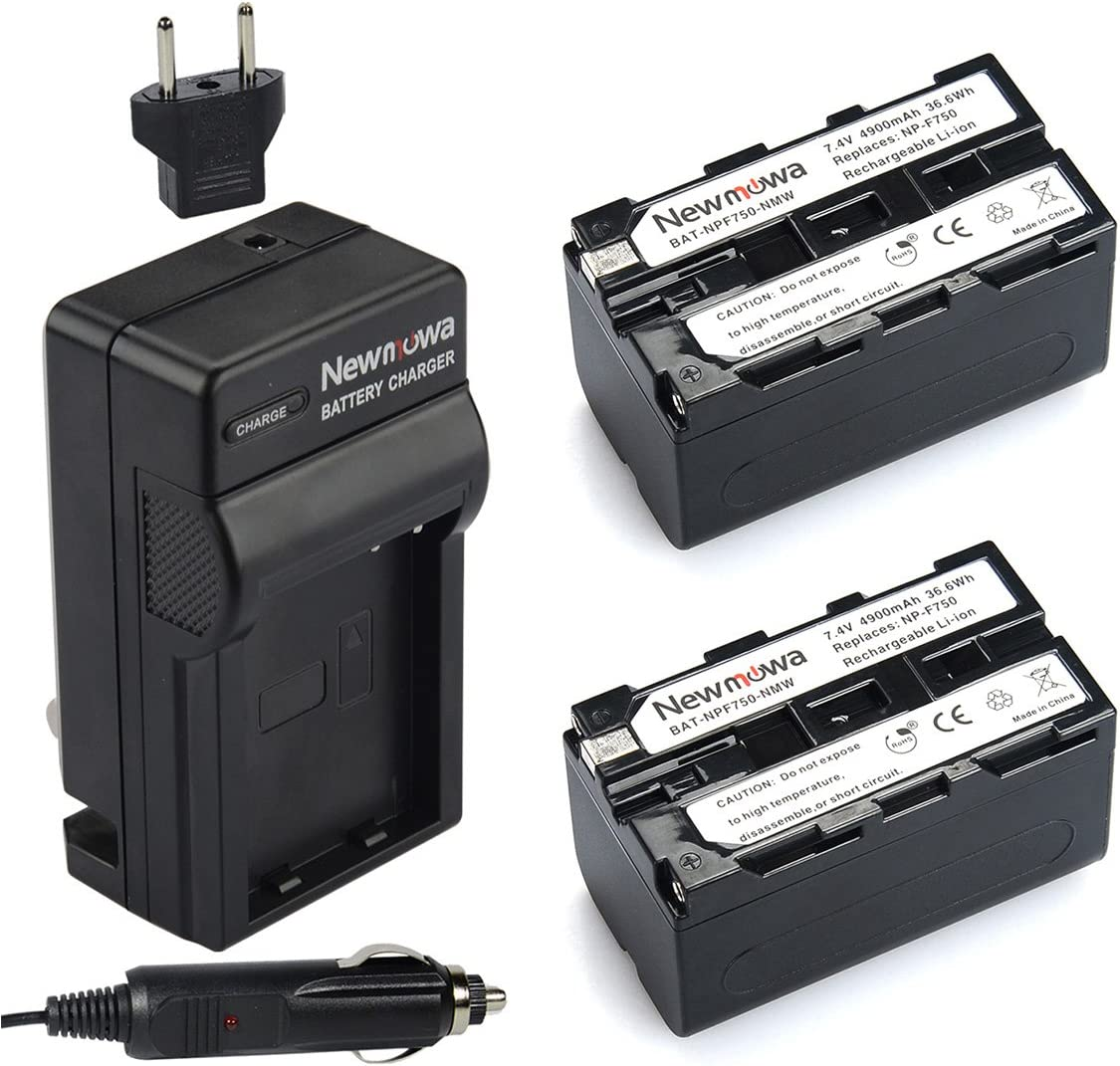 Newmowa NP-F750 Replacement Battery (2-Pack) and Charger Kit for Sony NP-F730,NP-F750,NP-F760,NP-F770