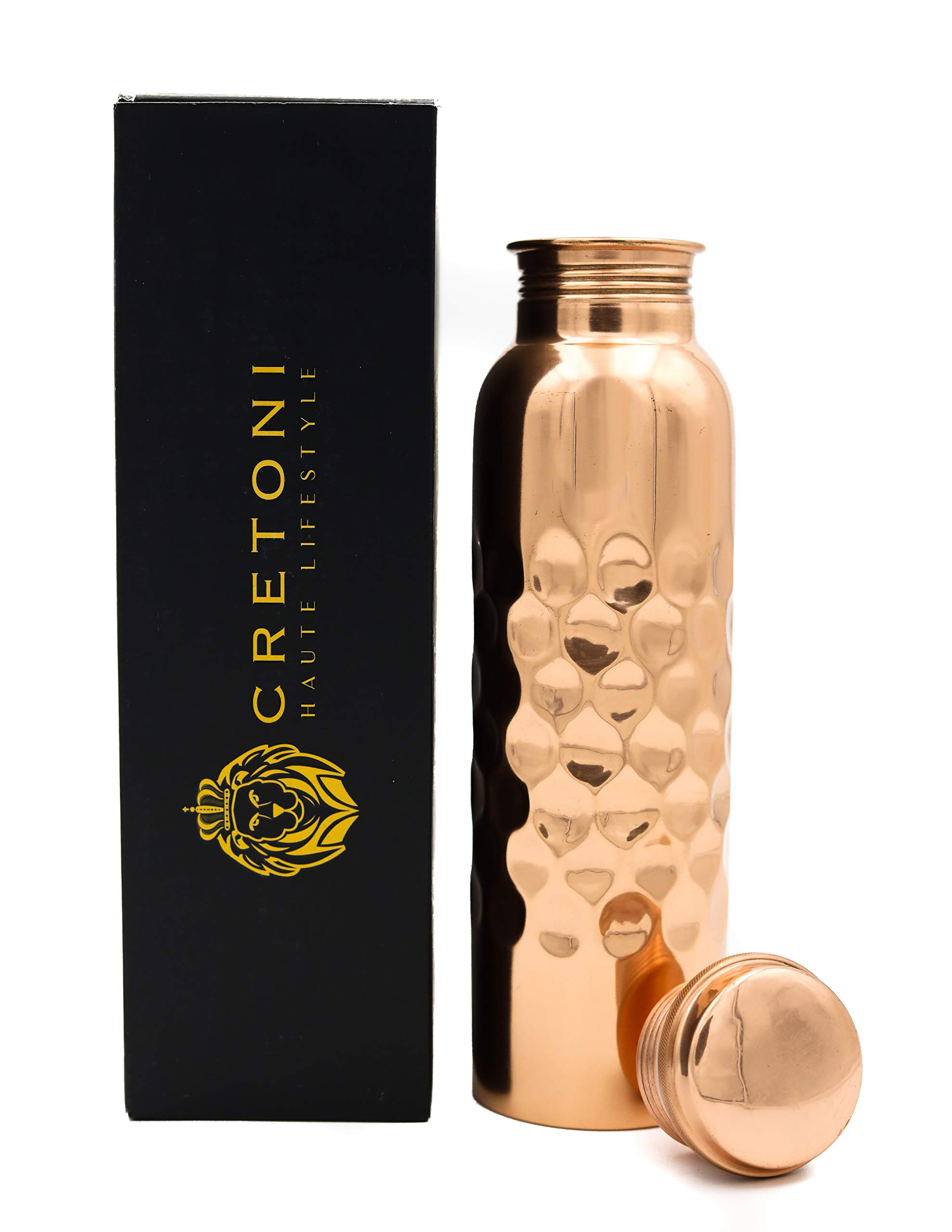 Cretoni Copperlin Pure Copper Water Bottle : Smooth Honeycomb Seemless Leak Proof Design : Perfect Ayurvedic Copper Vessel for Sports, Fitness, Yoga, Natural Health Benefits (900 Milliliter/30 Ounce)