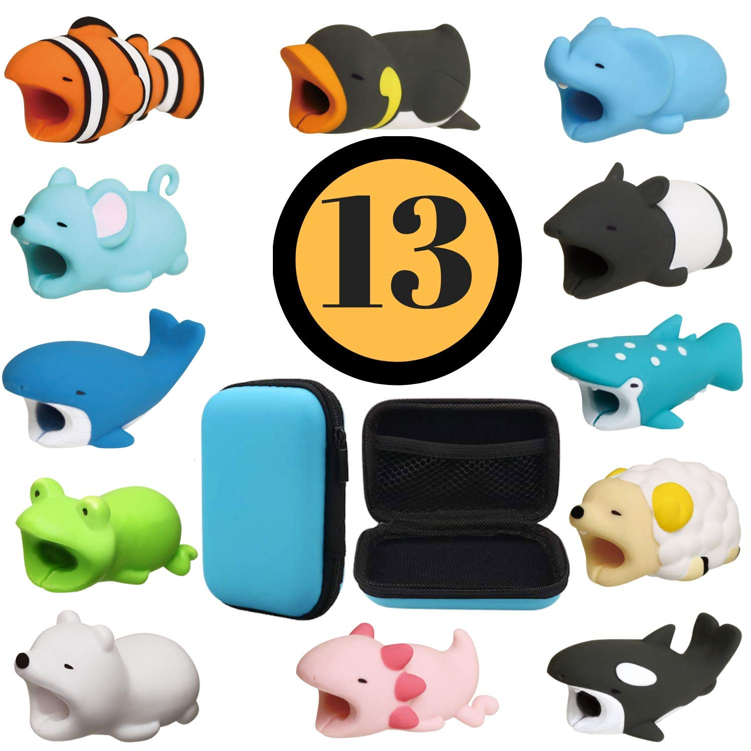 Animal Buddies Phone Cord Bites - Cable Protector for iPhone - Cute Animals Protects Cell Phone Accessories & Bites Data Line - Bite Cord Phone Accessory (7 Pieces w/Pouch) Official Animal Buddies