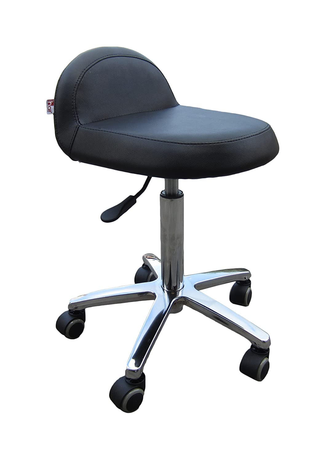 Hair Furniture Orfe Spin Styling Stylist Cutting Stool with a back support, dentist, tattooist, optician, reception, office stool, Fast UK Delivery 001-011-006-C045-01