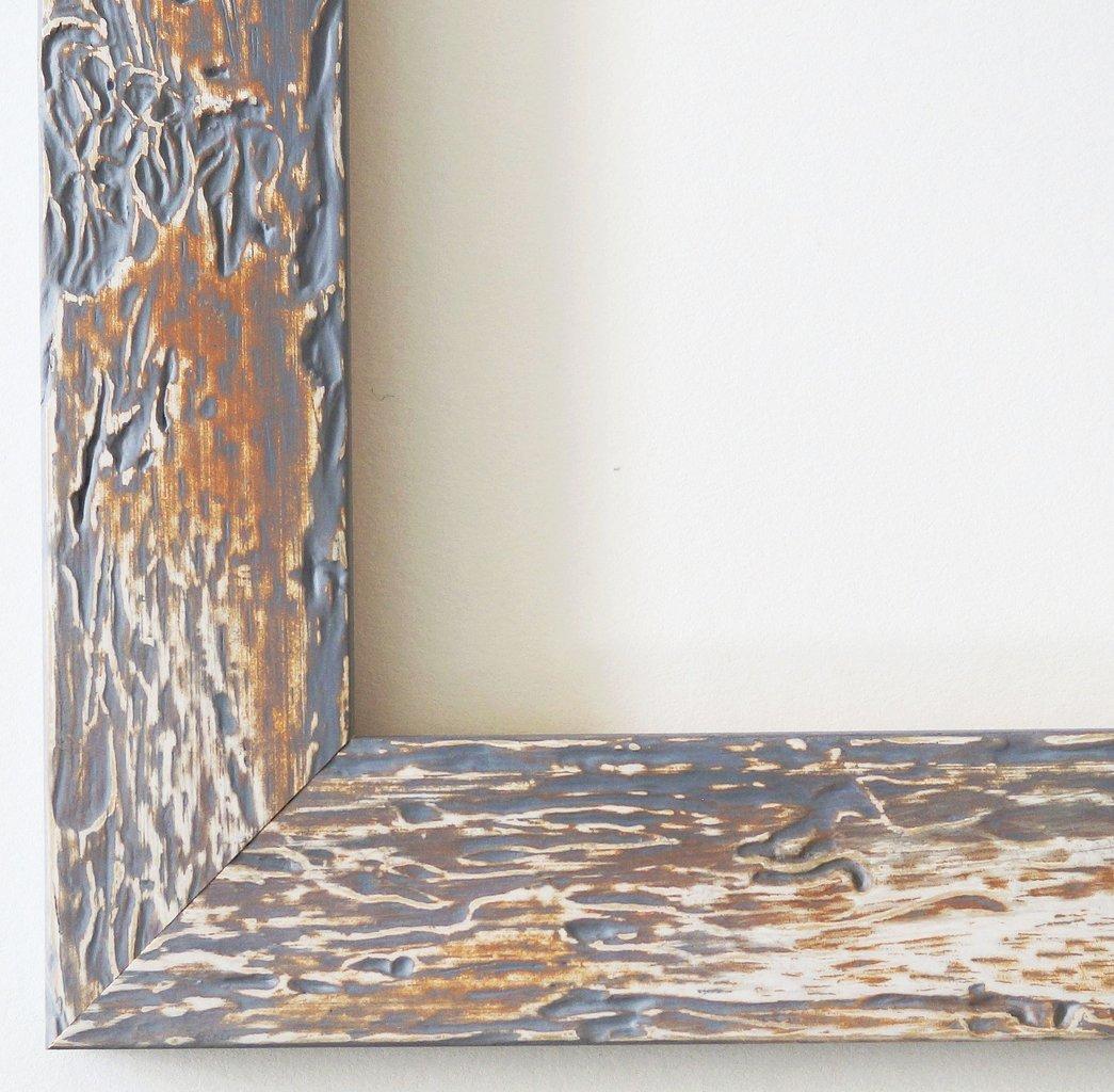 Bilderrahmen Parma Grau 3,9 - mit Passepartout in Weiß - 25 Größen - Außenmaß 40x60, Bildmaß 30x45 - Wechselrahmen mit Floatglas 2mm ( Normalglas) - Shabby, Vintage