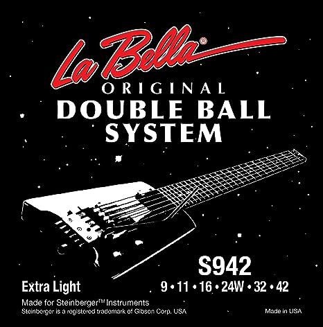 La Bella Strings - Juego de cuerdas para guitarra eléctrica (extremo de bola, 9