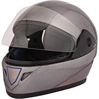 STARVIN RHYNOX FULL FACE HELMET    SILVER COLOR    ISI APPROVED    WITH BLUE HYDROGRAPHICS MODEL- JETTY