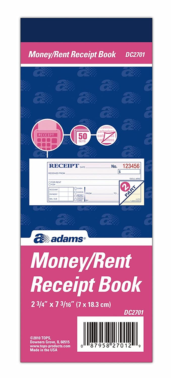 com adams money and rent receipt book part carbonless com adams money and rent receipt book 2 part carbonless 2 75 x 7 19 inch 50 sets white and canary dc2701 blank receipt forms office