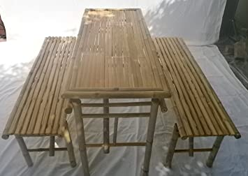 Kienlam Bamboo Garden Furniture Set With 1 Table And 2 Benches