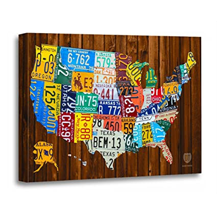 Amazon.com: TORASS Canvas Wall Art Print Green Usa License Plate Map ...