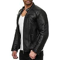 Red Bridge Hombres Chaqueta Cuero Sintético Transición Acanalada Moda Casual Negro Leather Jacket