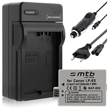 Batería + Cargador (Coche/Corriente) para Canon LP-E5 / EOS ...