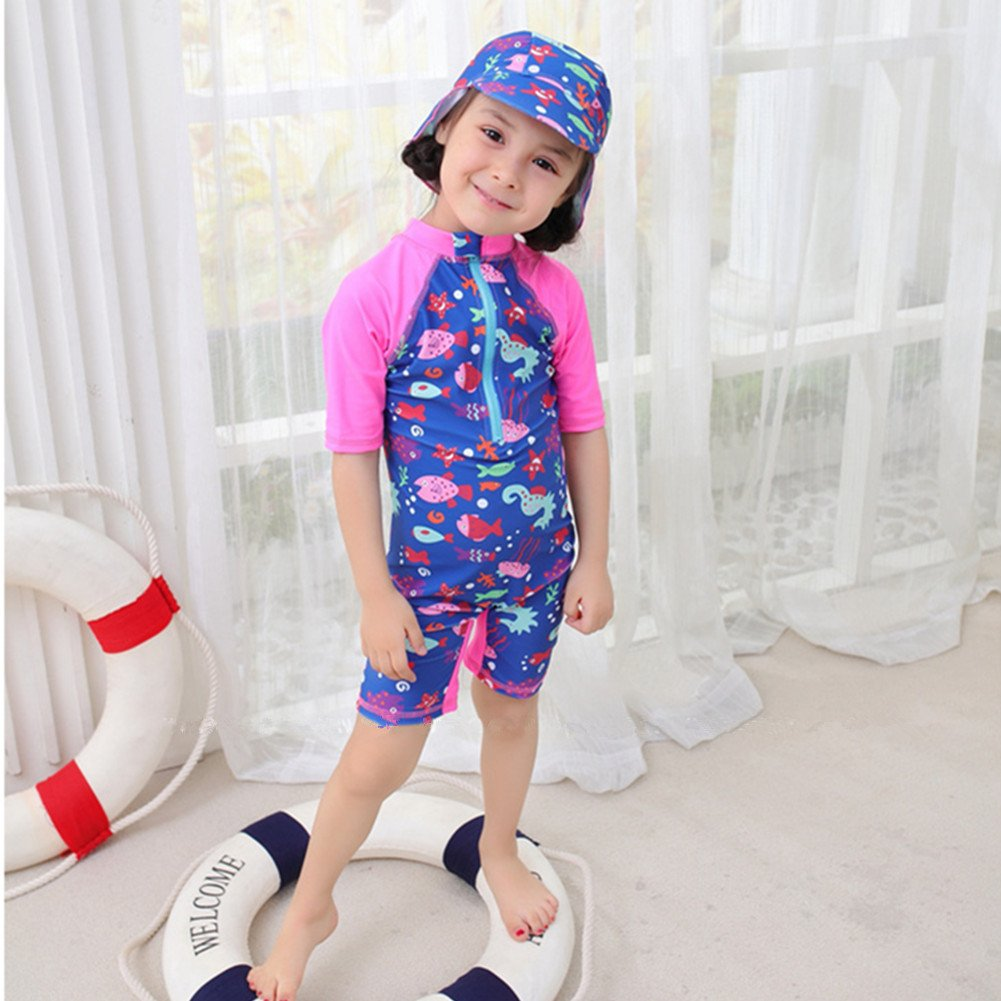 Biofieay Baby Girls Swimsuit One Piece Short Sleeve Swimwear Sun Protection with UV Hat