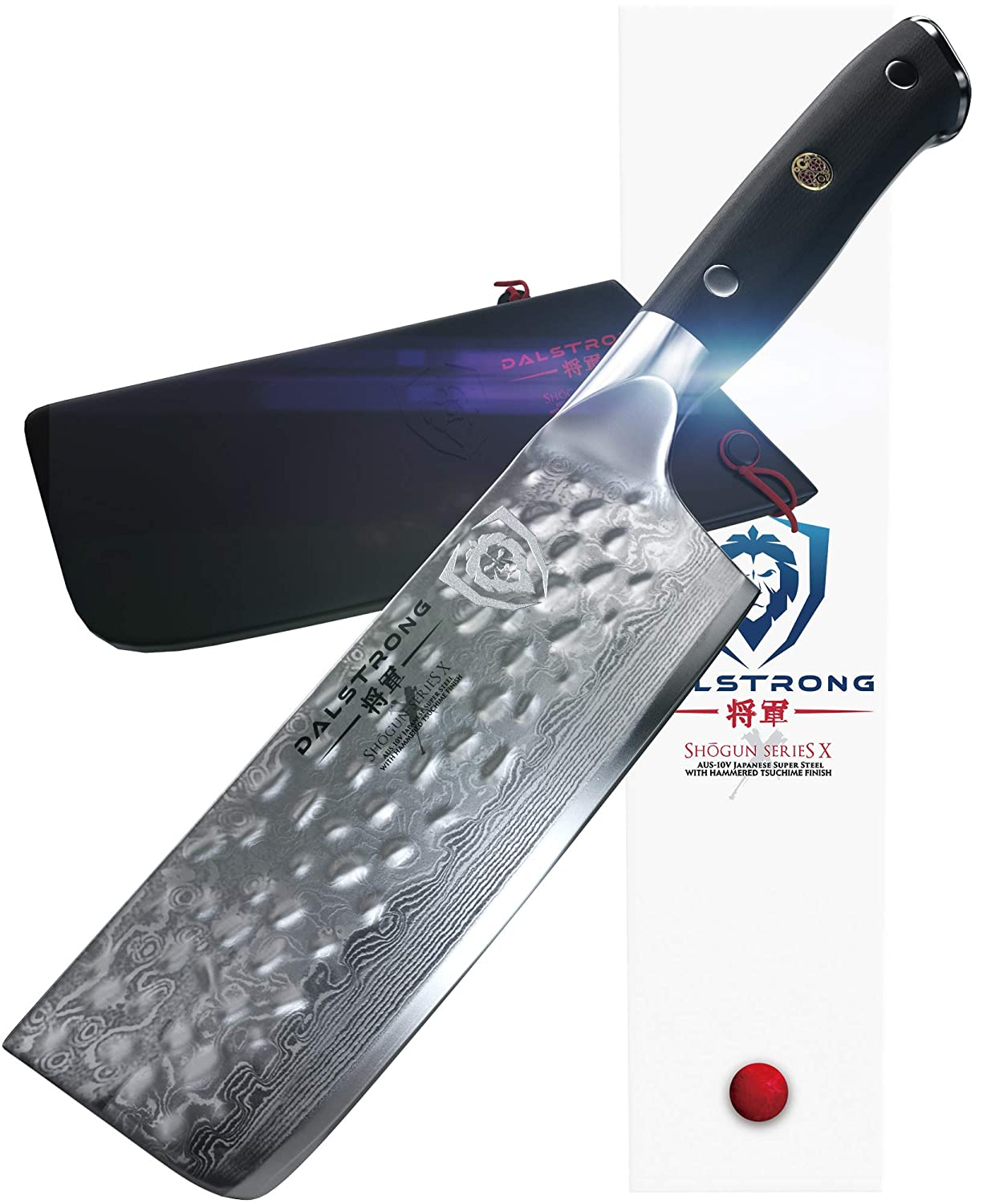DALSTRONG Nakiri Vegetable Knife - Shogun Series X - Japanese AUS-10V Super Steel - Damascus - Hammered Finish - 6