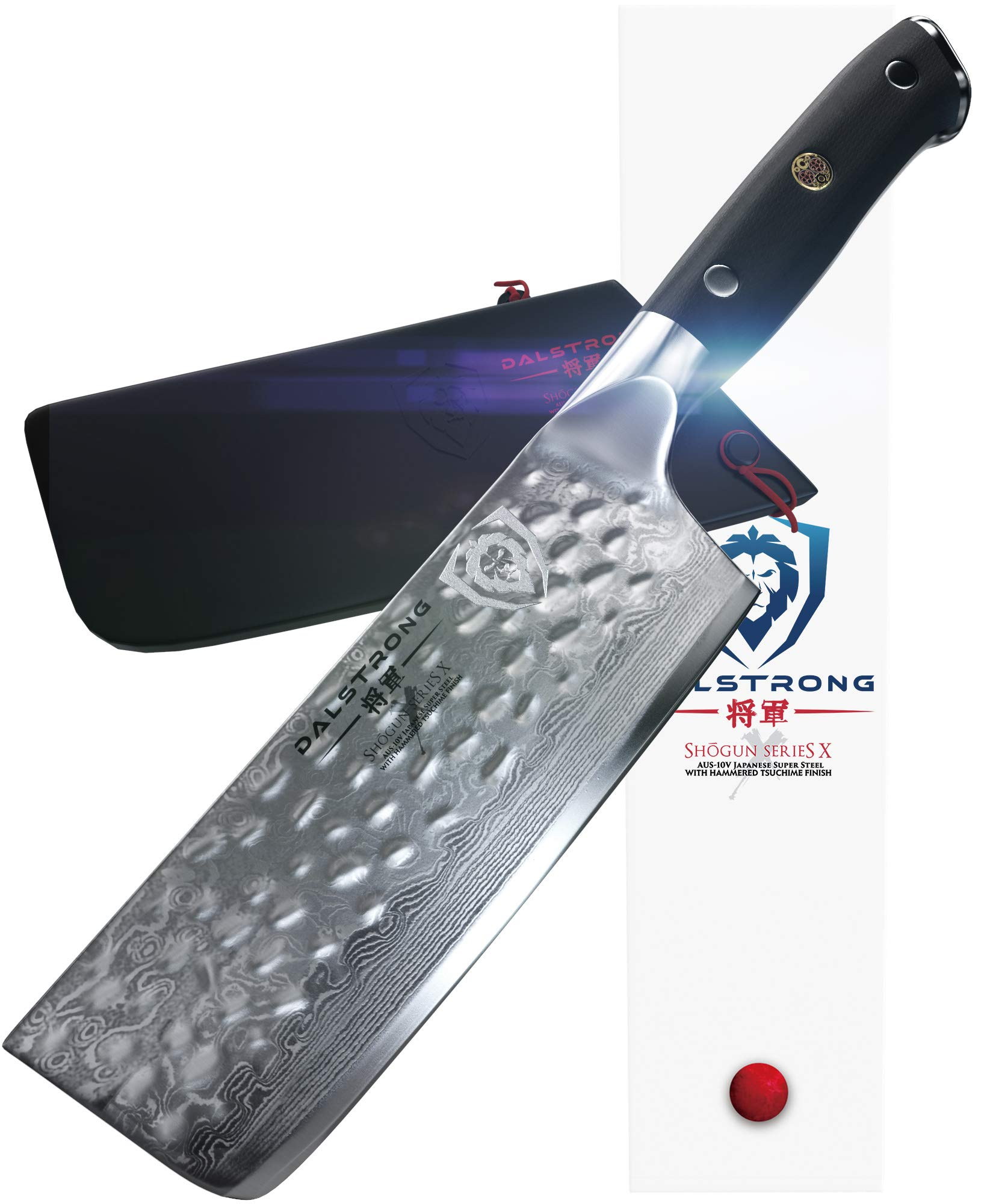 DALSTRONG Nakiri Vegetable Knife - Shogun Series X - Japanese AUS-10V Super Steel - Damascus - Hammered Finish - 6'' (152mm) by Dalstrong