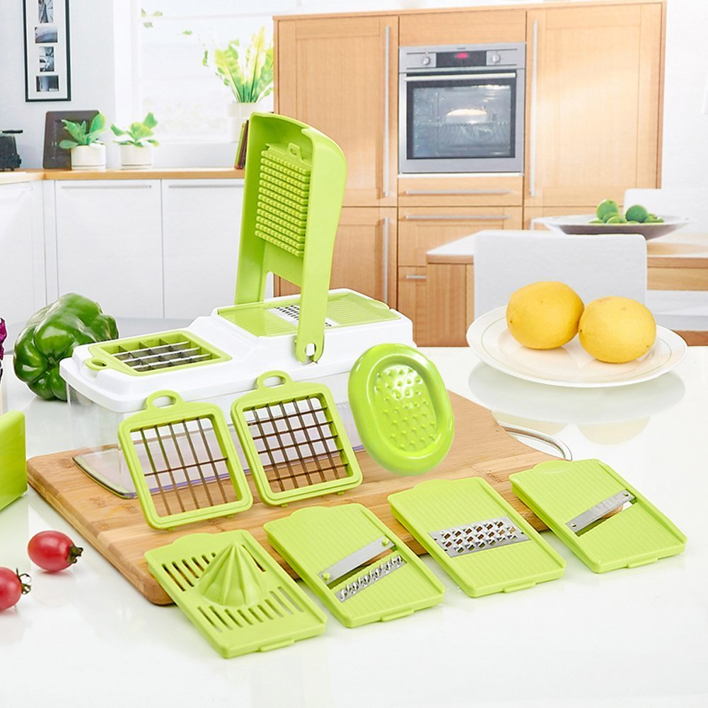 Vegetable Slicer - Yaumany Food Slicer, 10 in 1 King Mandolin Chopper, Cutter, Cheese Grater Compact and Heavy-Duty Spiral Vegetable Slicer with Stainless Steel Blades - Includes 7 Different Inserts