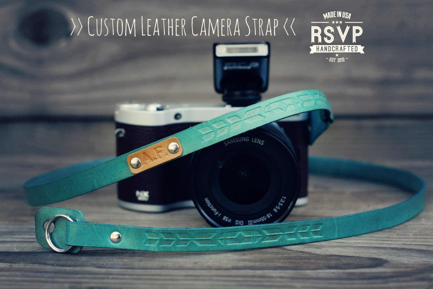 Custom Leather Camera Strap, Handmade personalized gift, Feather stamp, Thin Camera Strap,Tribal, hipster Aztec, hand stitched, Custom name, initials, neck strap, mirrorless, shoulder strap