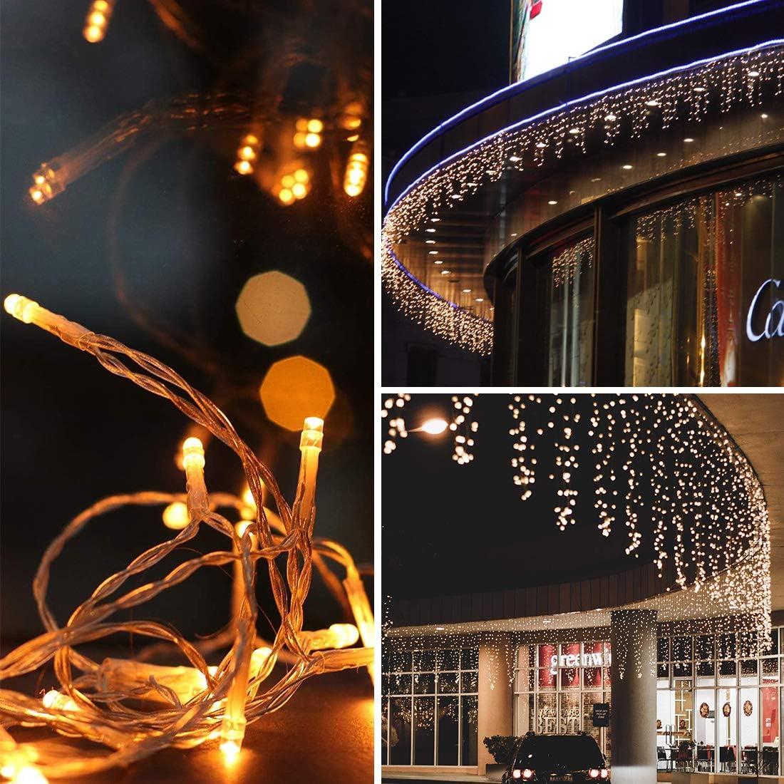 216 LED Lichterkette Warmwei/ß 5.5M Eiszapfen Lichter mit EU stecker 8 Leuchtmodi Dimmbar Eisregen Lichtervorhang mit Remote Timer Au/ßen Innen Deko f/ür Weihnachten Garten Party Hochzeit Winter