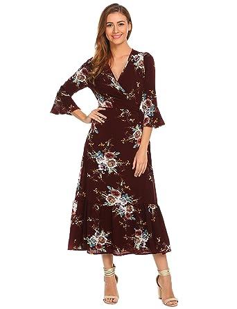 7e723dddd5 ELESOL Women Summer Floral Print Wrap Maxi Long Dresses with Belt Pattern2 S