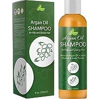 Argan Oil Shampoo for Oily Hair + Scalp - Sulfate Free Clarifying Shampoo for Greasy Hair - Volume Shampoo for Men + Women - Therapeutic Jojoba & Keratin for Strength - Salon Quality Natural Hair Care