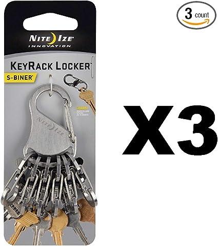 4-Pack Nite Ize BigFoot Locker KeyRack Stainless Steel Keychain Carabiner Clip