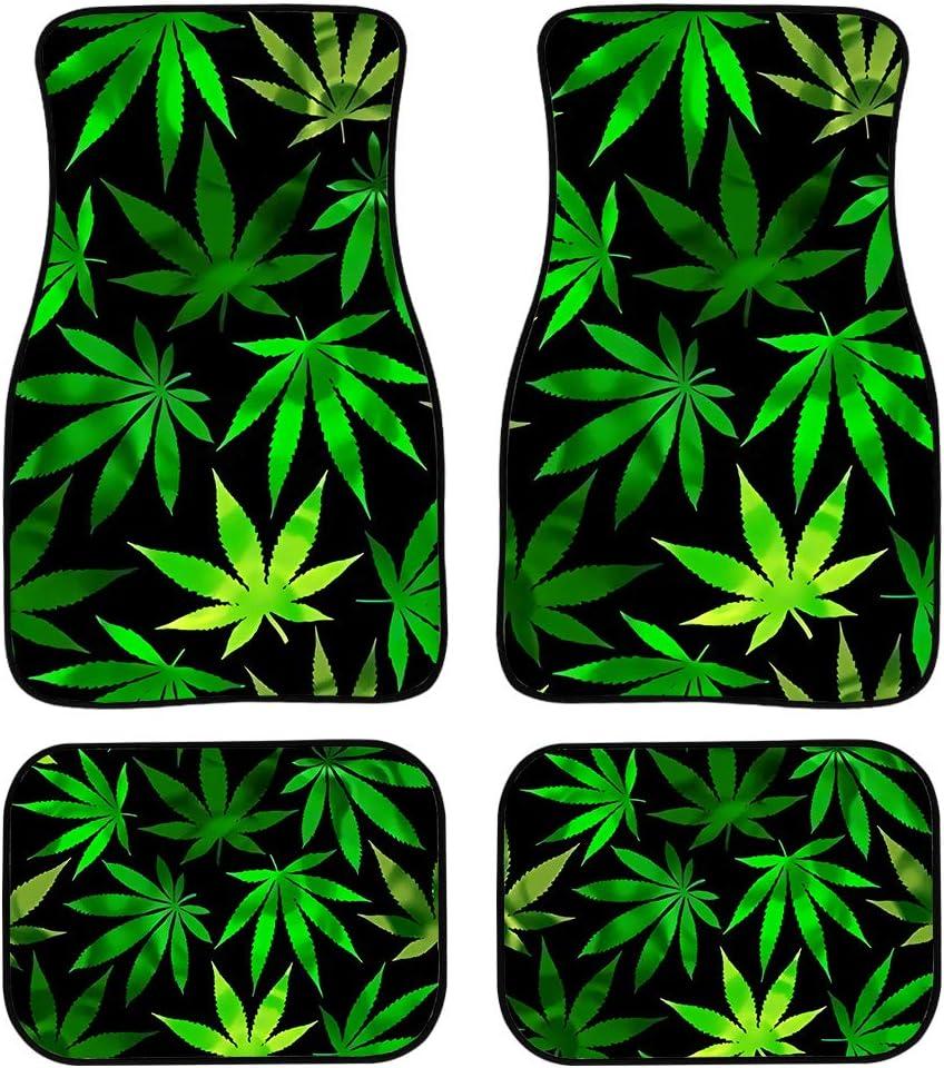 SEANATIVE Alfombras universales de protección interior con maceta de marihuana con hojas de marihuana impresas para el coche delantero y trasero, 4 unidades