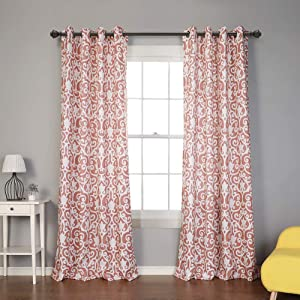 """MYSKY HOME Moroccan Print Design Curtains Panels for Living Room Bedroom Window Draperies for Farmhouse Grommet Top (2 Panels, 52"""" x 84"""", Orange)"""