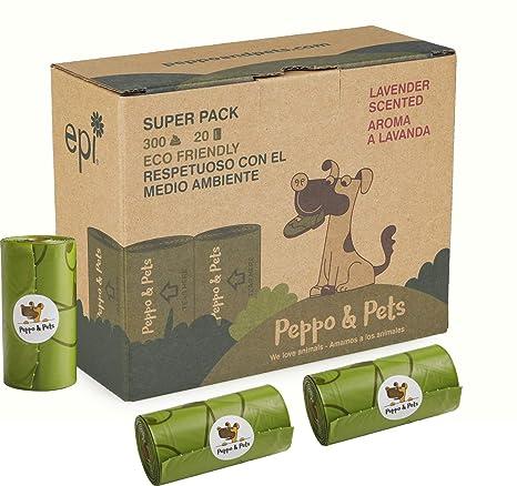 Peppo and Pets- 300 Bolsas biodegradables para excrementos de Perro - 20 Rollos- Muy Resistentes - Olor a Lavanda- Opacas- A Prueba de Fugas