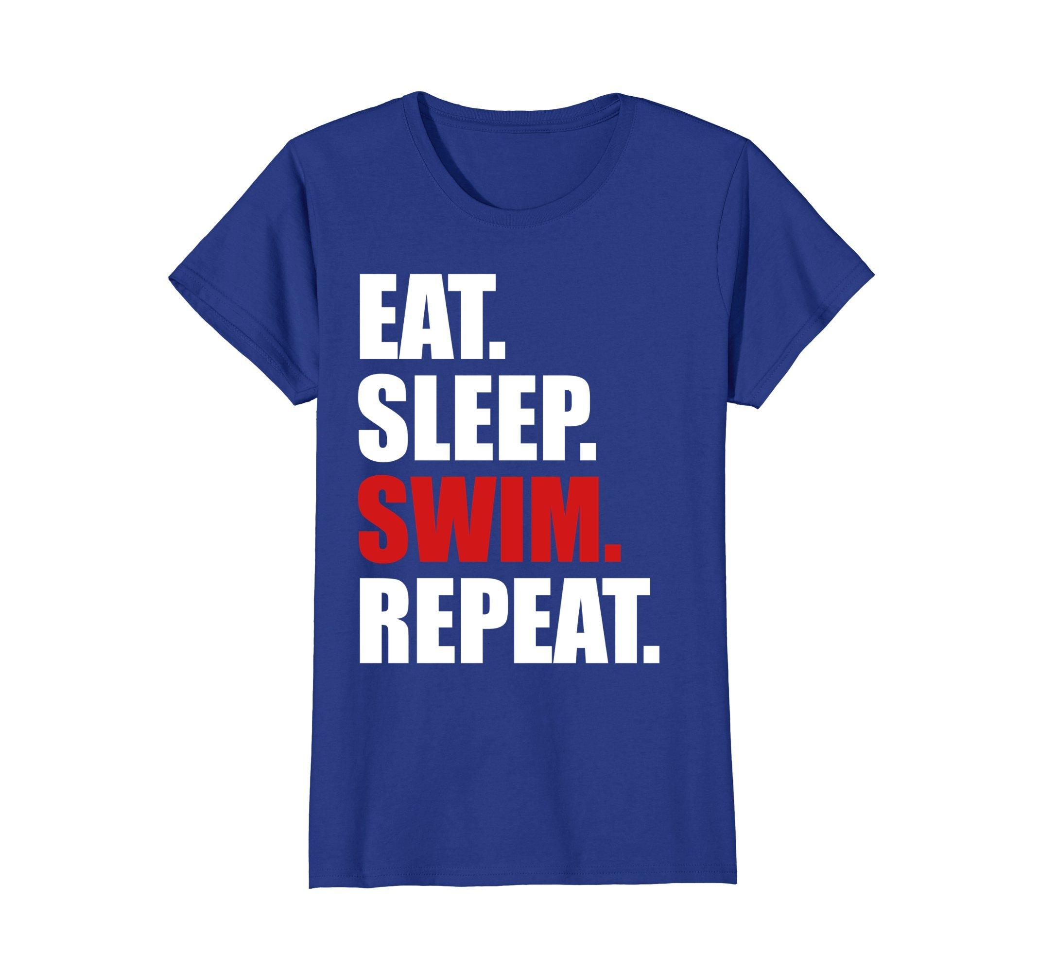Womens Eat Sleep Swim T-Shirt for Mens Womens Swimming Boys Toddler Small Royal Blue