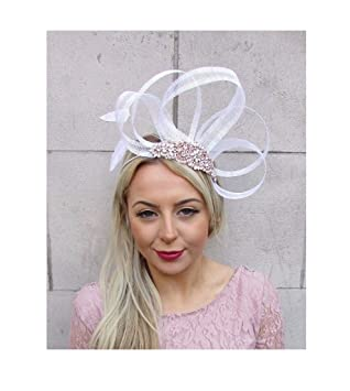 Starcrossed Boutique White Rose Gold Cream Silver Sinamay Feather Fascinator  Headband Races Hair 4525 035c03e8e8e