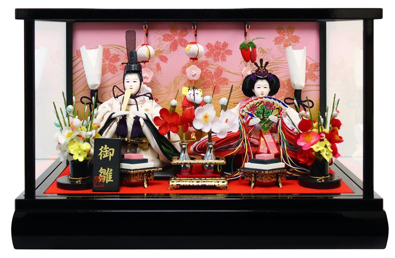雛人形 ケース入り親王飾り 吊るし付き 間口39.5×奥行27.5×高さ25cm 黒塗枠ガラスケース 30-055AP   B079795J2N