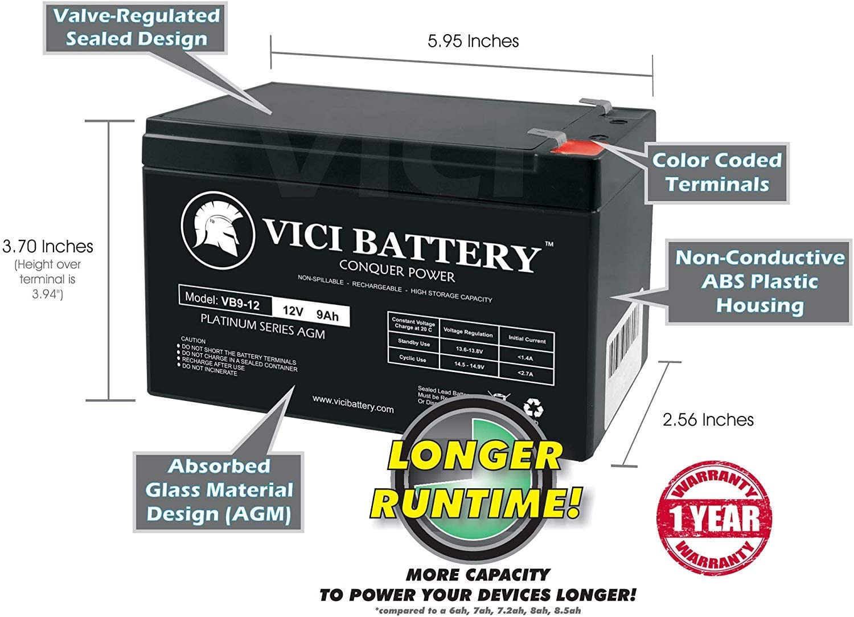 VICI Battery VB9-12 12V 9AH SLA Battery Replacement for APC Back-UPS Pro 1300//1500