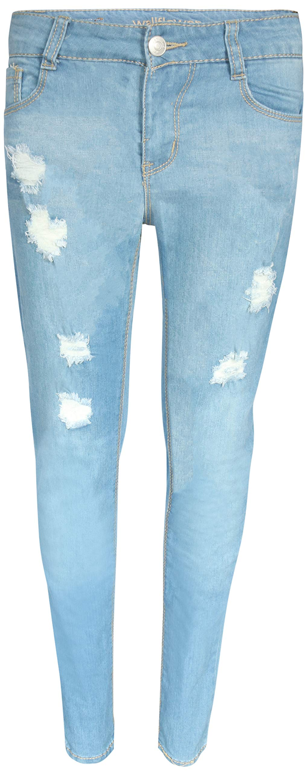 WallFlower Girl's Skinny Soft Stretch Jeans with Rips and Tears, Medium Light Wash 14'