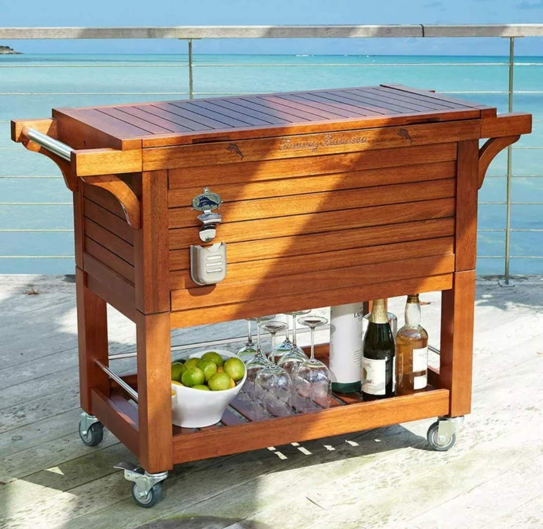 Tommy Bahama B07QNGKSVT Wooden Party Cooler, Brown Wood