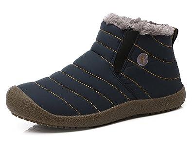 SAGUARO® Herren Damen Winterschuhe Warm Gefüttert Winter Stiefel Kurz Schnür Boots Schneestiefel Outdoor Freizeit Schuhe,Schwarz 36