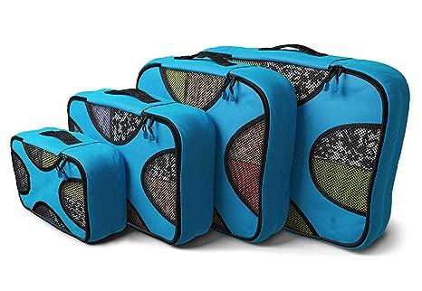 XIAOXI Cubos de Embalaje Valor Establecido para Viajes Organizador para maletas - 4pcs (Azul)