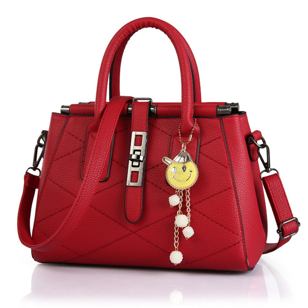 Top Shop Womens Leather Laser Diamond Shoulder Handbags Casual Tote Messenger Bags Hobos Rosered Satchels by TOP SHOP BAG