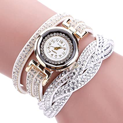 Amazon.com  Hunputa Women Luxury Crystal Women Gold Bracelet Quartz  Wristwatch Rhinestone Clock Ladies Dress Gift Watches (White)  Arts e459d69c3fb6
