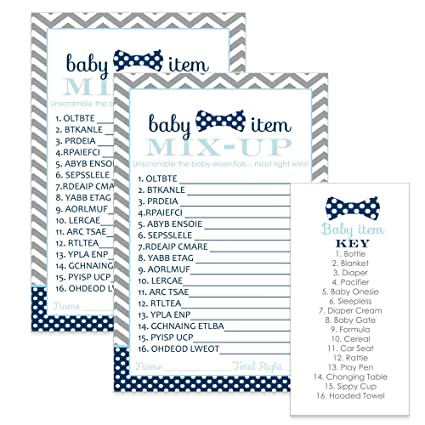 Bow Tie Baby Shower Games Word Scramble Cards (25 Pack) Navy and Grey  Chevron
