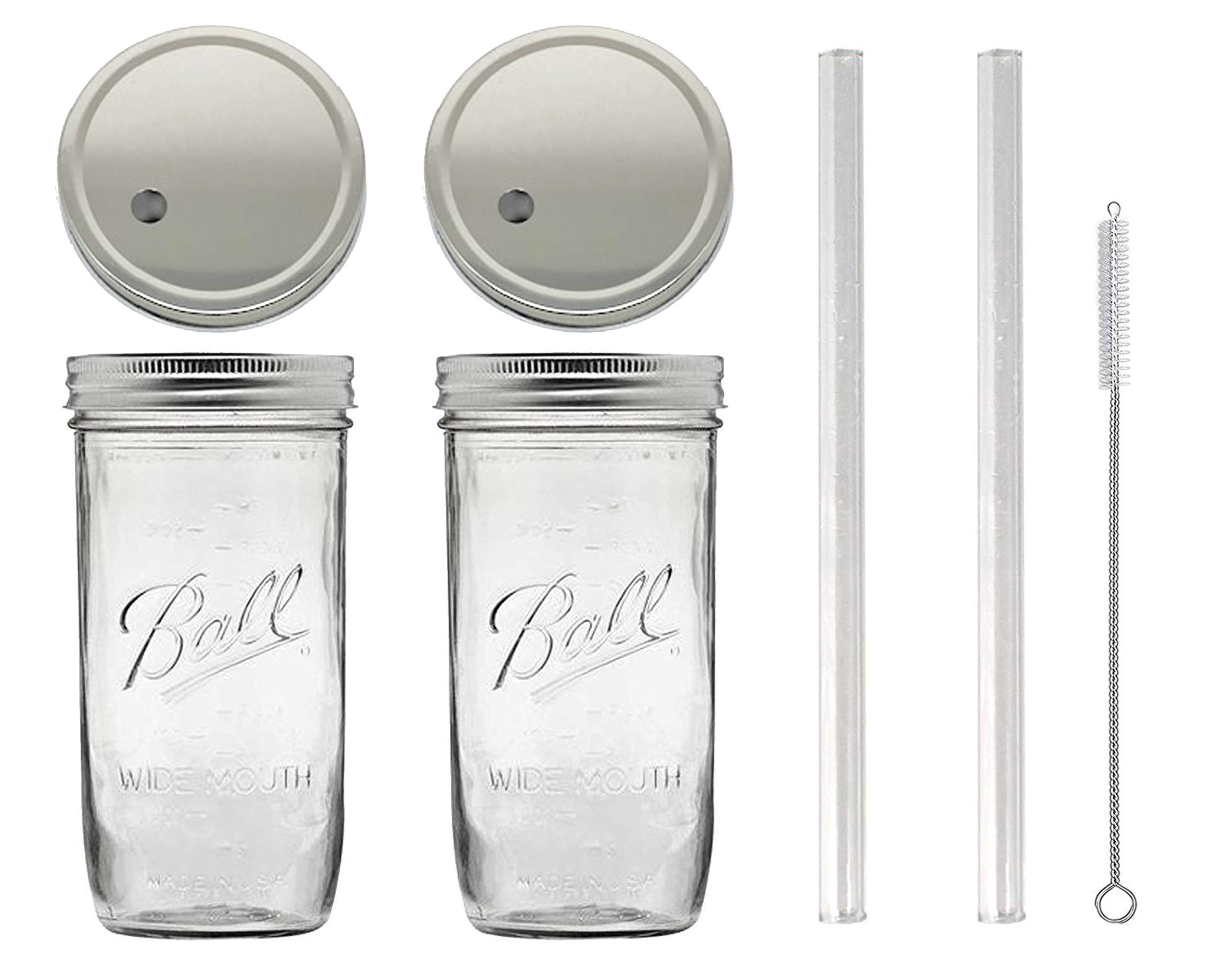 (2) 24 oz Wide Mouth Glass Mason Drinking Jars with 2 Silver Lids, 2 Glass Straws (10''x 9.5mm) and 1 Straw Cleaner