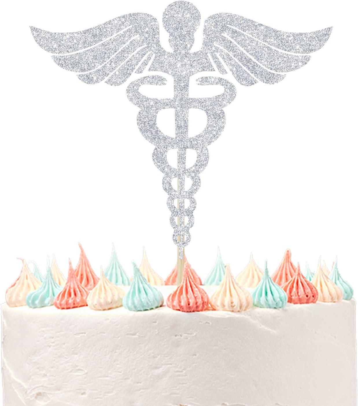 Nursing Cake Toppers for Nurse Graduation Birthday Party Decor, Medical RN Nurse Graduation Party Supplies Silver Glitter.