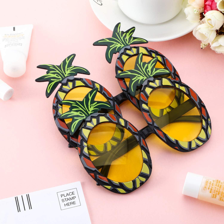 Blulu 2 Pares de Gafas de Pi/ña Gafas de Fiesta en Forma de Pi/ña Gafas de Sol Tropicales Hawaianas para Accesorios de Fiesta Foto Props Tem/áticos