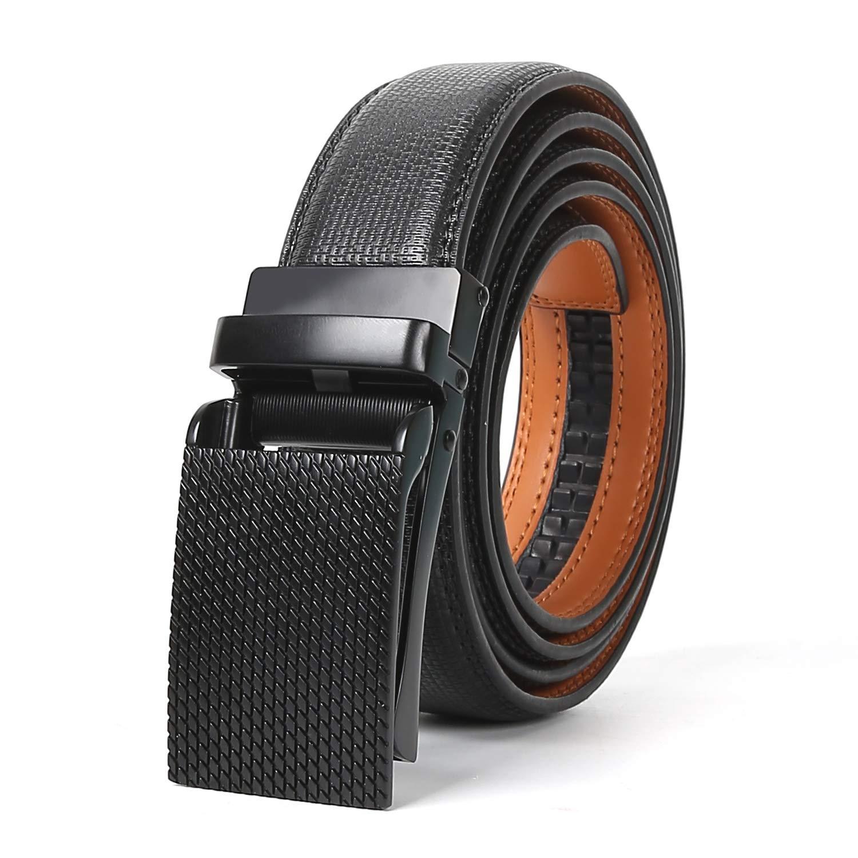 Mens Belt TERSE Leather Automatic Click Ratchet Belt for Jeans Casual Cowboys 35MM Width Length 110CM 125CM 138CM
