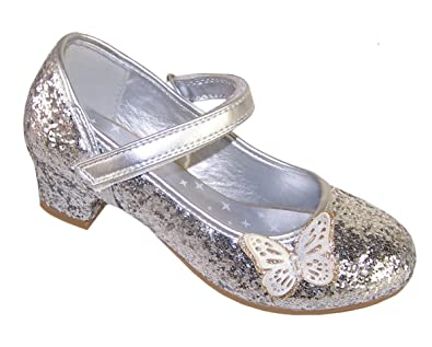 Girls Childrens Silver Sparkly Glitter Party Low Heeled Butterfly Trim  Dressing Up Special Occasion Shoes Wedding