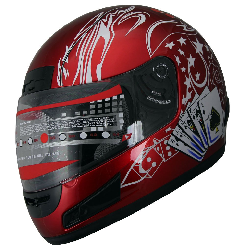 Adult Full Face Sports Motorcycle Helmet DOT 177 Wine Red Large