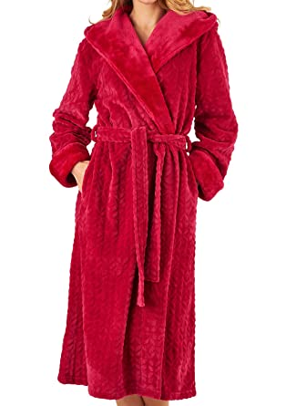 Slenderella Ladies Faux Fur Hooded Dressing Gown Super Soft Shawl ...