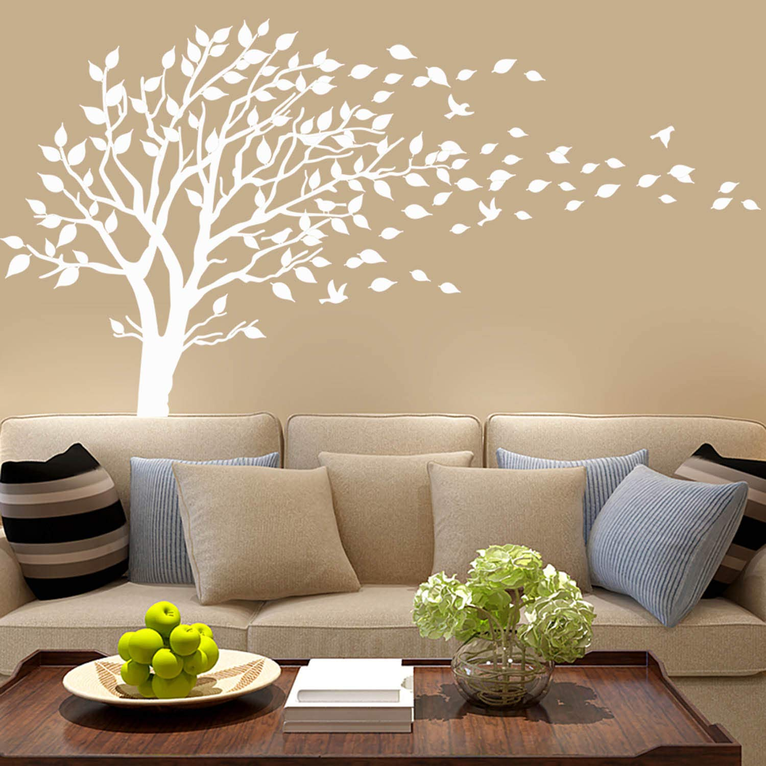Many colours Decal Tree With Leaves Blowing In The Wind Amazing Wall Stickers