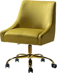 Carina Velvet Fabric Task Chair for Home Office - Mustard Yellow