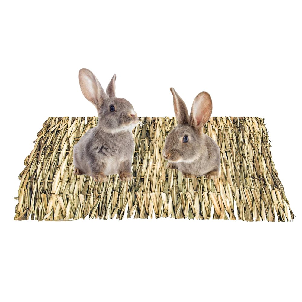 Flying Spoon Grass Mat for Rabbits, Natural Handmade Pets Woven Grass Mat for Rabbits, Guinea Pigs, Chinchillas, Hamsters