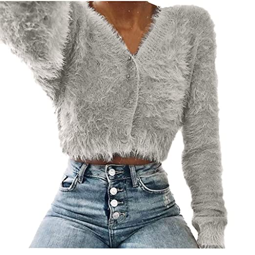 ce24851162941 KaiCran Womens V-Neck Button Fluffy Mohair Long Sleeve Knit Crop Top  Cardigan Sweater Tops at Amazon Women s Clothing store