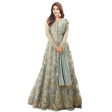 19601824e2 Generic Karma Fashion Women 's Grey Net Heavy Suits Wear Floor Length Gown/  Anarkali /Salwar Suit, x3, Free Size: Amazon.in: Clothing & Accessories