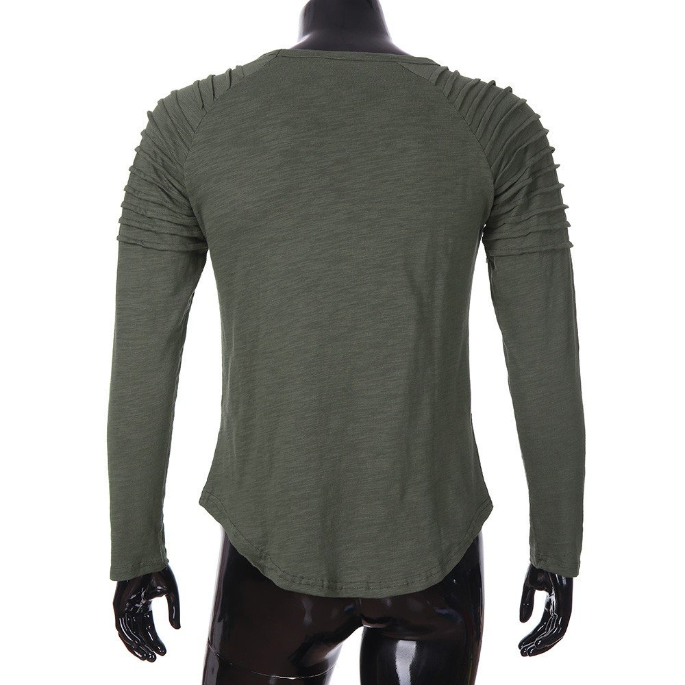 WM & MW Mens Casual Tops Pleated Long Sleeve Solid Color Round Neck T-Shirt Pullover Tee Blouse at Amazon Mens Clothing store: